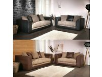 **PREMIUM QUALITY** New Double Padded Byron Jumbo Cord+Leather Corner OR 3+2 Seater Sofa !BIG SALE!