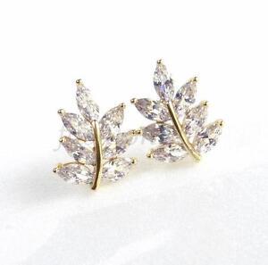 De-mujer-Novia-14K-Chapado-En-Oro-Diamante-Sintetico-Transparente-Hoja