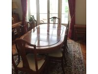 Solid rosewood extendable 8 person dining table and chairs (originally imported from Hong Kong)