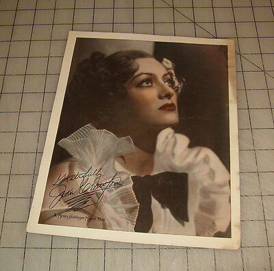 JOAN CRAWFORD 8x10 Color-Tinted MGM Publicity Photo with Signature (1930s/40s?)