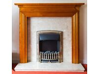 Antique Pine Fire Surround, Botticino Conglomerate Marble back panel and hearth. fire not included