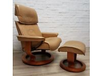 Ekornes Stressless Reclining Armchair With Footstool (DELIVERY AVAILABLE FOR THIS ITEM OF FURNITURE)