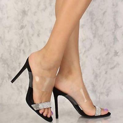 Liliana Black Clear Rhinestone High Heel Mule Slides Shoes Stiletto Sandals - High Heel Slides