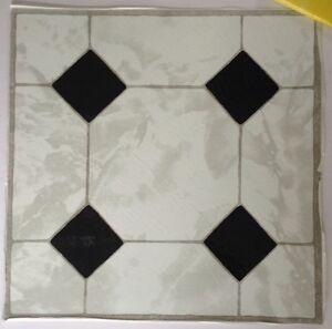 50 X Self Adhesive Vinyl Floor Tiles Bathroom Kitchen White Marble Diamond