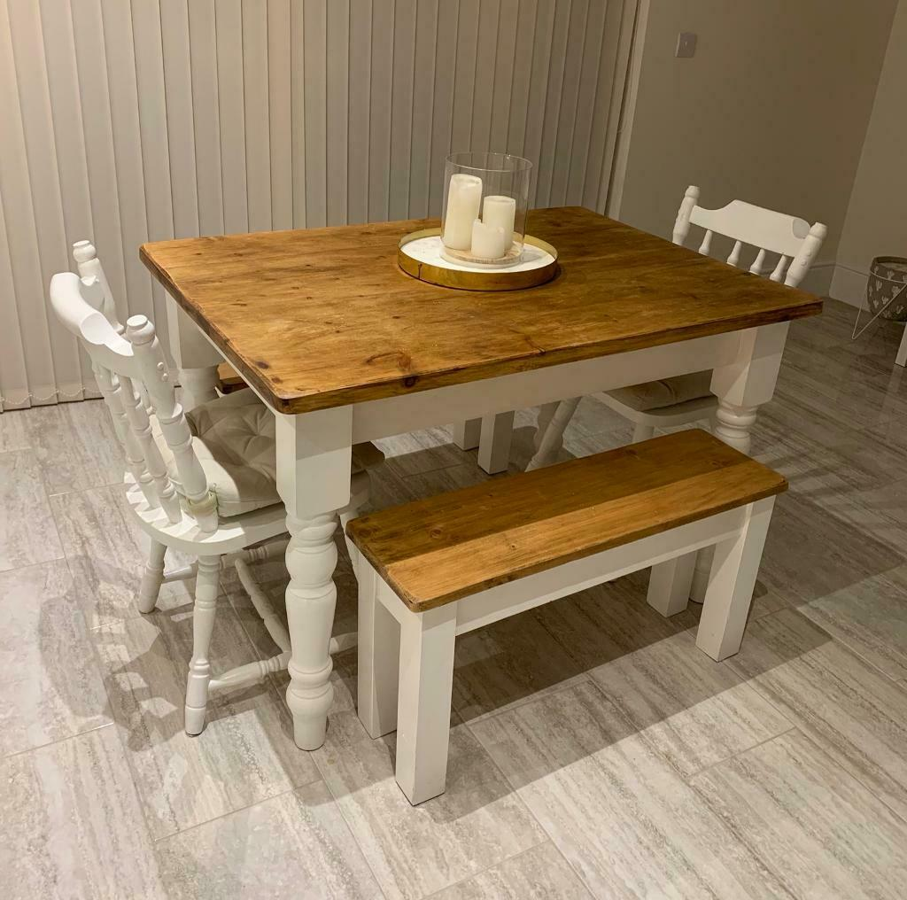 Solid Wood Farmhouse Style Wooden Dining Table Benches With 2 Chairs