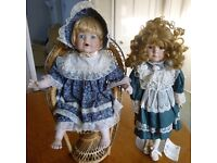 2 Porcelain Dolls + stand and chair. House of Valentina - Dolls of distinction