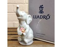 LLADRO -LUCK IN LOVE- ANIMAL FIGURE MODEL 6462 BOY GIRL BABY ELEPHANT FLOWERS -BOXED-
