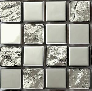 SAMPLE Silver Smooth Stainless Steel and Textured Glass Mosaic Wall Tiles MT0129