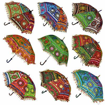 5PC Lote Decorativo Indio Mano Bordado Parasol Vintage Parasol Paraguas
