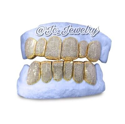 Diamond Gold Tone Grillz - Custom 2 Tone 10K 14K Yellow Gold Grillz Plated Diamond Dust Style Punchout Perm