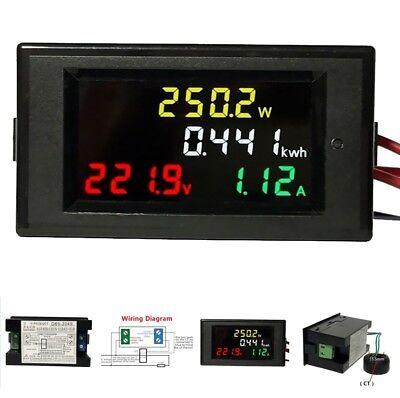 Ac 80-300v Lcd Digital 100a Volt Watt Power Kwh Meter Ammeter Voltmeter Proper A