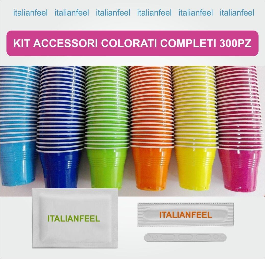 300 PZ KIT ACCESSORI CAFFE COLORATI  COMPLETI ORIGINALE  BORBONE 2 X 150