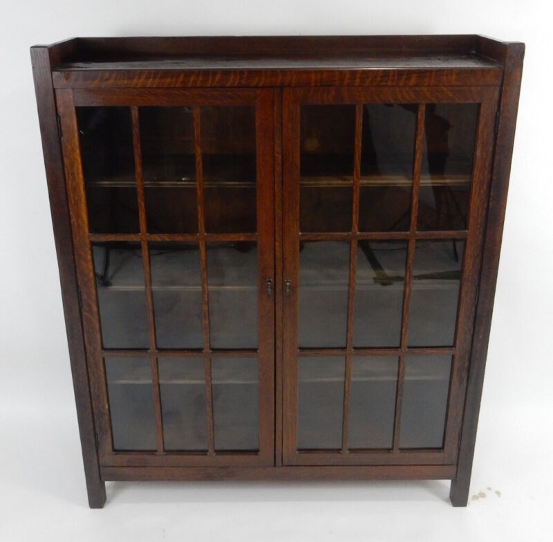 Antique Stickley Era Mission Oak  18 Panel Book Case . 45.75 inches
