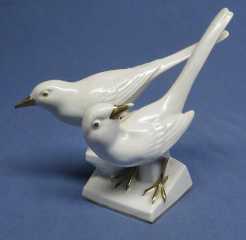 Vintage ERPHILA Pair of Doves Birds Germany US Zone #5333 White Porcelain w/Gold