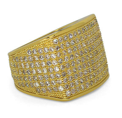 14k Mens Diamond Rings - Mens Ring 14k Gold Plated Iced Out Simulated Diamond Band Pinky Hip Hop