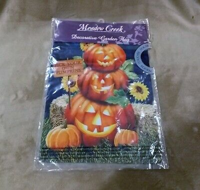 New 2 in 1 Garden Flag Fall Pumpkin Sunflowers Jack O Lantern Halloween