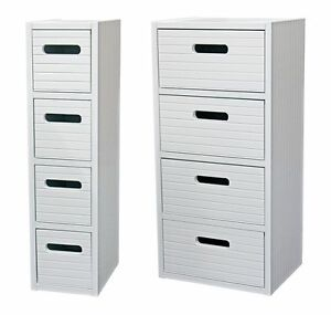 Slim Or Wide White Wooden Bathroom Bedroom Storage Cabinet Unit With Drawers Ebay