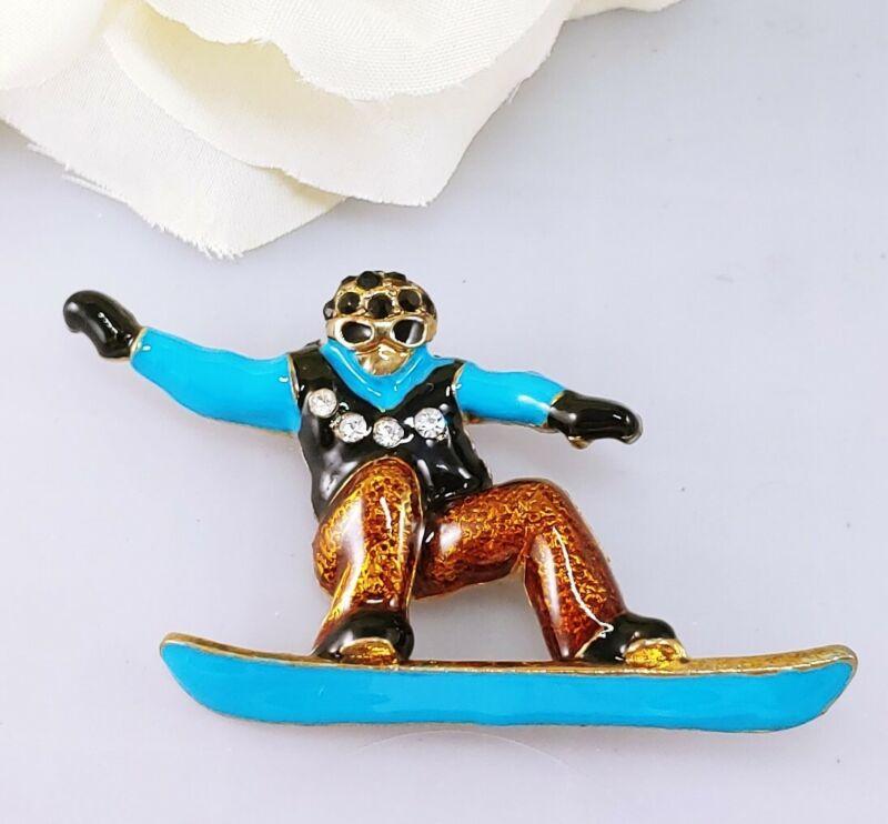 Skier man woman snow board ski brooch pin rhinestone enamal blue black gold tone