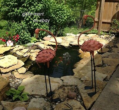 2 LARGE metal PINK bird modern ART Flamingo outdoor Stake yard Statue sculpture