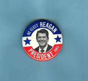 1-3/4 INCH RONALD REAGAN POLITICAL BUTTON *  RE-ELECT REAGAN PRESIDENT 1984