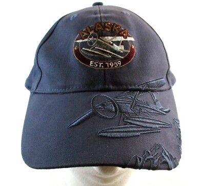 (Alaska Bi-Plane Embossed Graphics Blue Violet Strapback Cap Hat Arctic Circle )