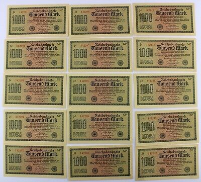 15x Ro. 75d Banknote 1000 Mark 1922 TOP Kassenfrisch fortlaufende Nr old Bill