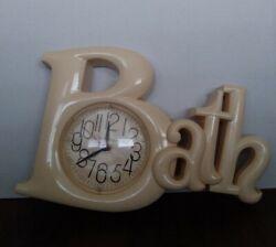 Vntg biege Bath Spelled Out wall clock Burnwood Prod. by New Haven Quartz 2654