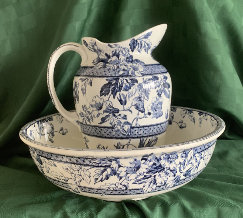 """Antique T. Furnival &Sons """"Trentham"""" Blue And White Floral Pitcher And Bowl"""
