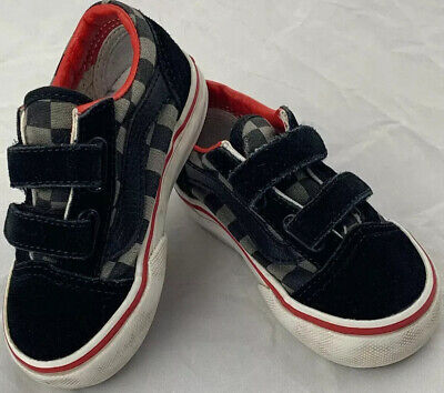 Vans Gray & Black Checkered Slip On Shoes Toddler Size 6 Hook And Loop Fastener