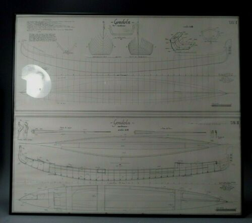 Italy Italian Gilberto Penzo Venice Blueprints for a Gondola Moderna Scale 1:15