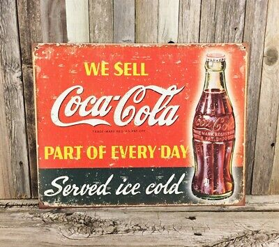 Ice Cold Coca Cola Tin (Coca-Cola Coke We Sell Ice Cold Served Here Metal Tin Sign Vintage Kitchen)