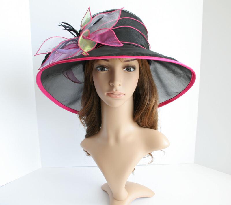 NEW Church Derby Wedding Organza w Multi-Color Flower Dress Hat Black VF005