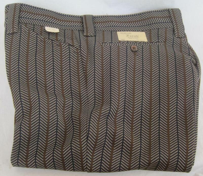 FARAH Vintage Young Mens Flare Pants W31 L29 Short Herringbone Brown Blue Knit