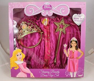 Sleeping Beauty Dress Up Set Fits Sizes 4-6X Disney Princess Tiara Wand Ages 3+ ()