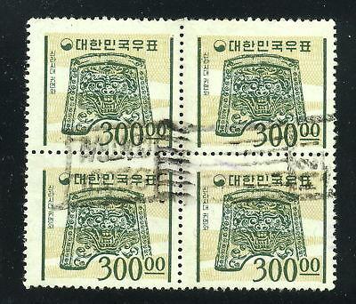 1964-1966 Korea SC 374 Block of 4, Used 300w Slate Green & Buff*