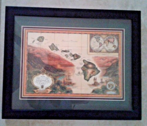 MAP of the Sandwich Isles Framed 1788 Blaise Domino