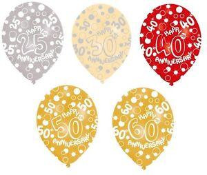 6 x wedding anniversary balloons 25 30 40 50 60 helium or. Black Bedroom Furniture Sets. Home Design Ideas