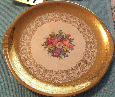 Vintage 1940's Paden City Serving / Cake Plate---11-inch, 22-Kt. Gold-edge Plate