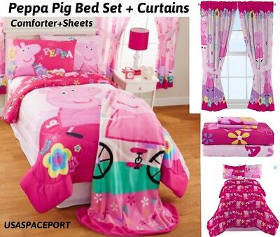 PEPPA PIG Twin-Full COMFORTER + SHEETS + CURTAINS SET Bed in a Bag ...