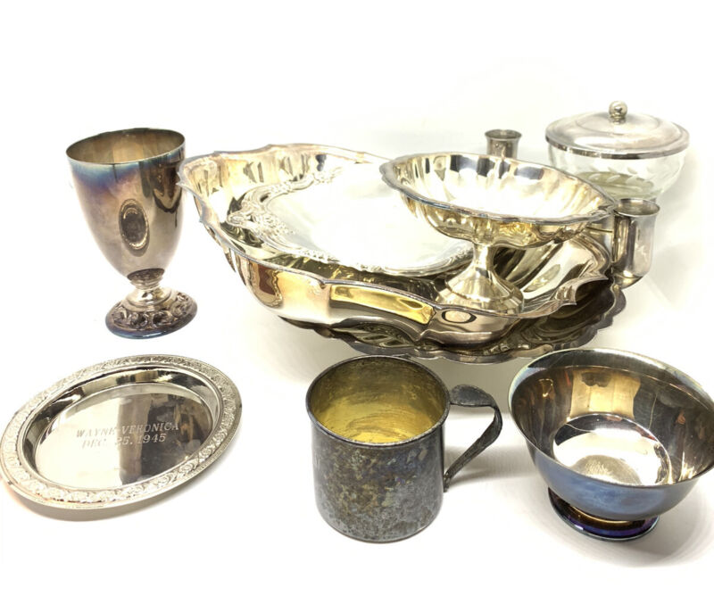 Large Lot Of Vtg & Antique Silver Plate Dining Items 5.5lbs
