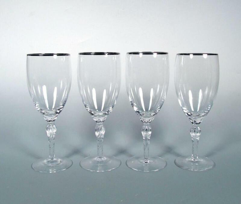 Lenox Crystal USA SET (4) Madison Platinum Trim Beverage Iced Tea Glasses NWOT