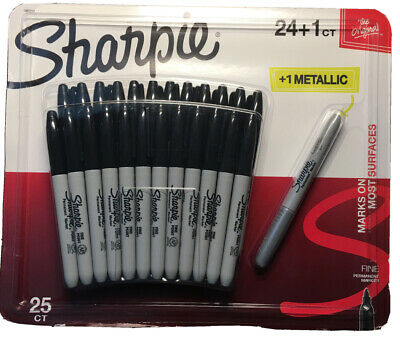 Sharpie Permanent Marker 25-count 24 Black 1 Metallic New In Its Package