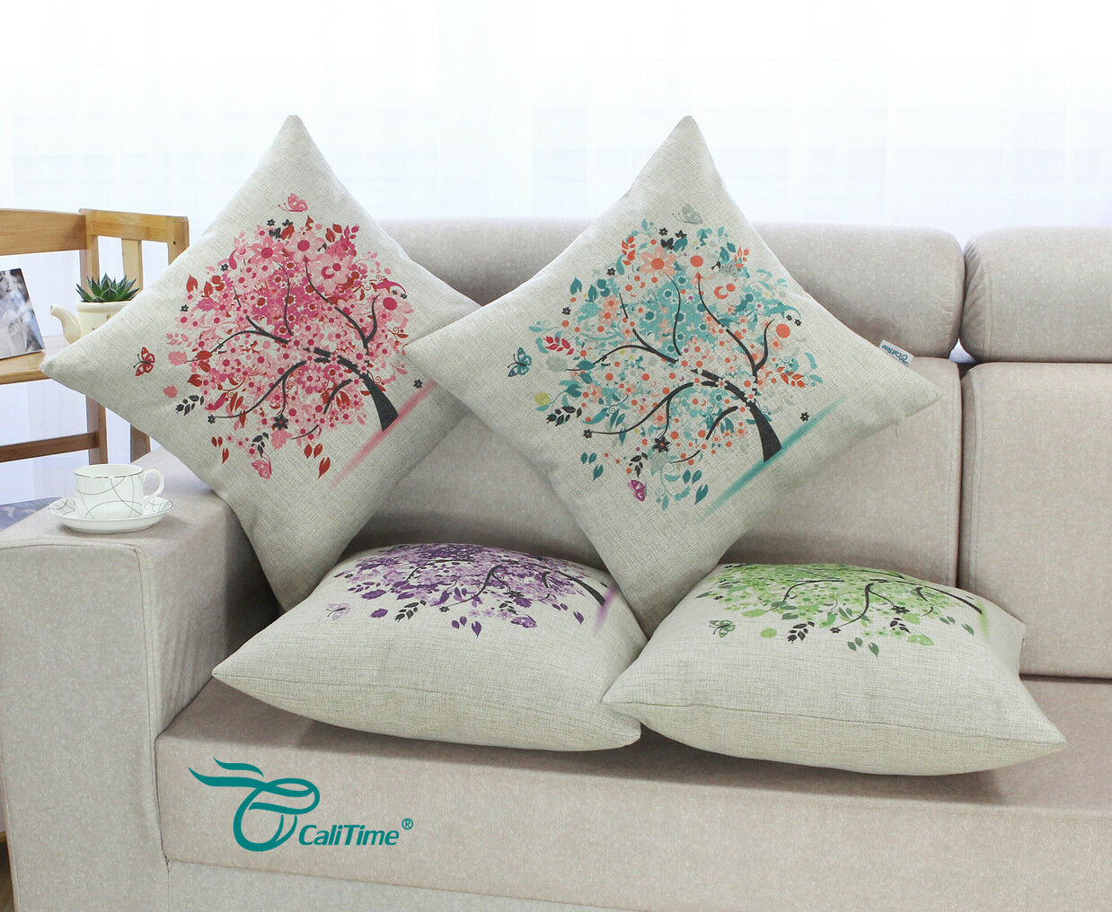 CaliTime Square Throw Cushion Pillows Covers Shells Home Sof