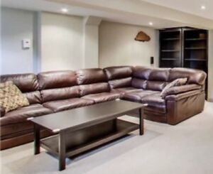 Leather Sectional L Couch and Chair (Brown)