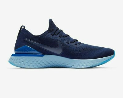 Nike Epic React Flyknit 2 Trainers - Mens Running Gym - Blue - Size 11