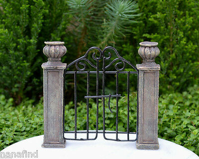 Miniature Dollhouse FAIRY GARDEN ~ Mini Resin Pillars with Gate ~ NEW