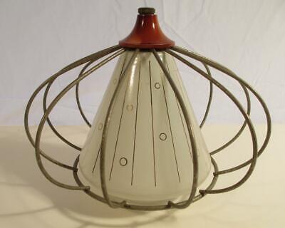Vintage Atomic Ceiling Light Shade Glass Cone Sputnik Cage Lamp Mid Century MCM