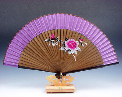 Bambú Plegables Mano Ventilador Peony Flores Fiesta Boda Favor Libre Soporte #