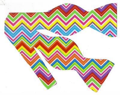 Neon Color Bow tie / Red, Blue, Yellow, Orange, Green Chevron / Self-tie Bow - Neon Bow Ties