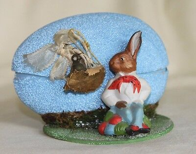 Vintage 1952 Germany German Paper Mache Easter Egg Bunny Rabbit Candy Container